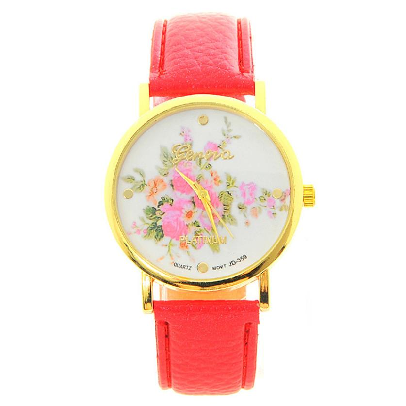 Watch For Fashion Women Leather Rose Flower Watch Quartz Bracelets Watches Casual Style Wonderful Gift<br><br>Aliexpress