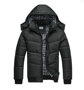 Winter Coat Men black puffer jacket warm fashion male overcoat parka outwear cotton padded hooded down