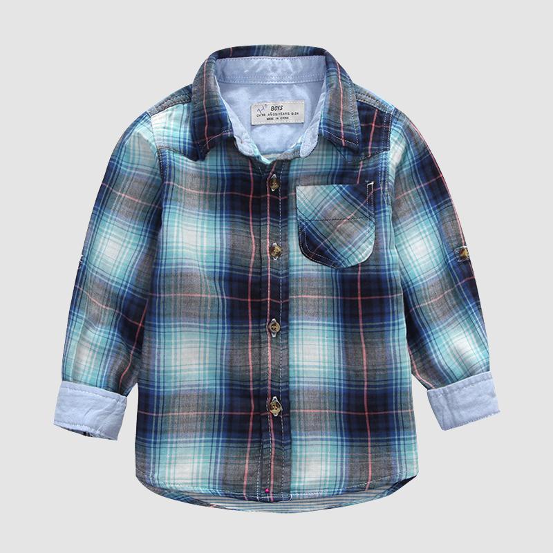 (2-7Y) Spring 2015 Children baby grid lapel collar shirt Double yarn.Boys long sleeve shirt<br><br>Aliexpress