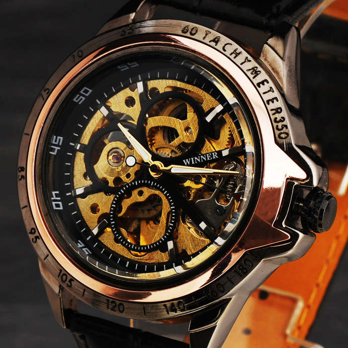 2013 Fashion Alloy Tachymeter Case Multi-Layer Skeleton Dial mens Hand-Wind watch Leather Band Mechanical wristwatch freeship<br><br>Aliexpress