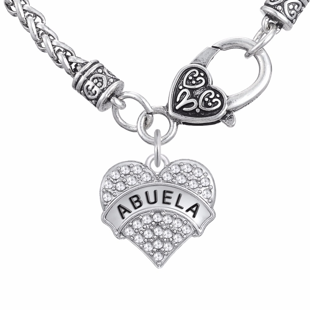 Fashion Family Jewelry Clear crystal Heart Pendant Necklaces Engrave Letter ABUELA Gift for Grandmom(China (Mainland))