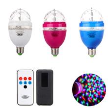2015 New E27 RGB LED Stage Lighting Effect 3W LED RGB Lamp Rotating Remote Control RGB LED Light RGB 360 Degree Dimmable 85-265V(China (Mainland))