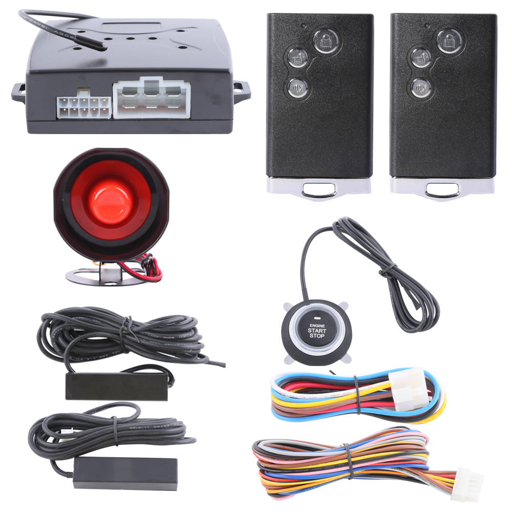 Passive keyless entry car alarm system push button start/stop, remote engine start/stop and remote lock unlock(China (Mainland))
