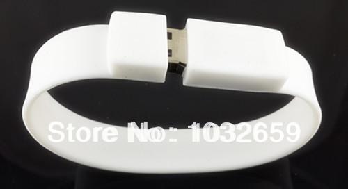 Popular White Wrist Bracelet / Wristband PVC/ Rubber Usb Flash Drive/ Disk / Usb Stick 1GB 2GB 4GB 8GB 16GB 32GB 64GB available(China (Mainland))