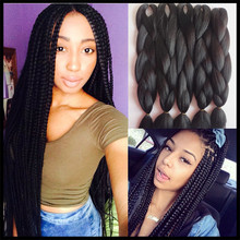 4-10 Packs Braiding Hair 24″ 100G Pure Black Color Kanekalon Senegalese Twists pressions Synthetic Jumbo Box Braiding Hair