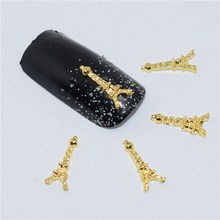 10psc New Gold the Eiffel Tower   3D Nail Art Decorations,Alloy Nail Charms,Nails Rhinestones  Nail Supplies #063