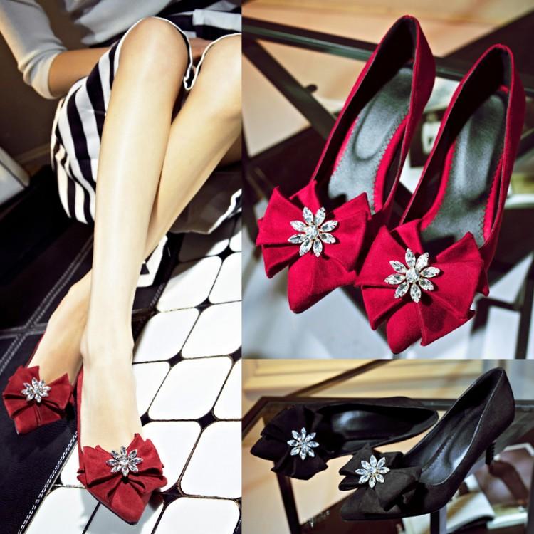 Women Lace Up Heels Designer Low Medium Heel Shoes Discount Silver Rhinestone Heels High Heel Pumps China Brand Size 11 12(China (Mainland))