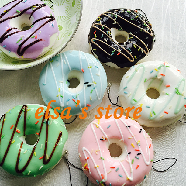 squishies wholesale 10pcs KAWAII jumpo squishy 9cm donut squishies charm strap squishy toys lot cute phone charms Free Shipping(China (Mainland))