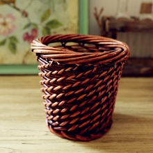 Hand-weaved Wicker Artificial Flower Pot Vase Decorative Crafts Tabletop Flower Receptacle Basket Container Home Decor Ornament(China (Mainland))