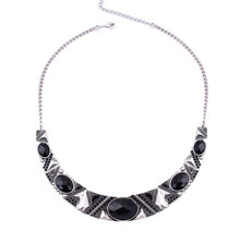 Statement Necklace 2016New Vintage Jewelry Silver Color Alloy Black Resin Bead Choker Necklace Fashion Bijoux Necklace For Women(China (Mainland))