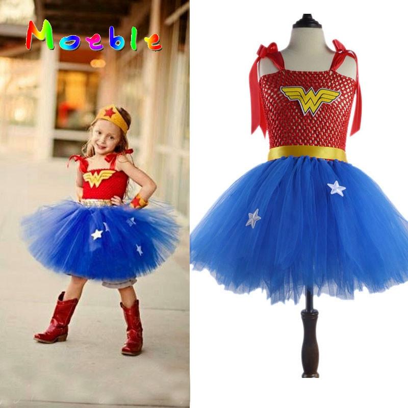 Superhero Girls Wonder Woman Tutu Dress Girl Cosplay Costume Christmas Birthday Dress Up Tutu Dress Baby Photo Props DT-1621(China (Mainland))