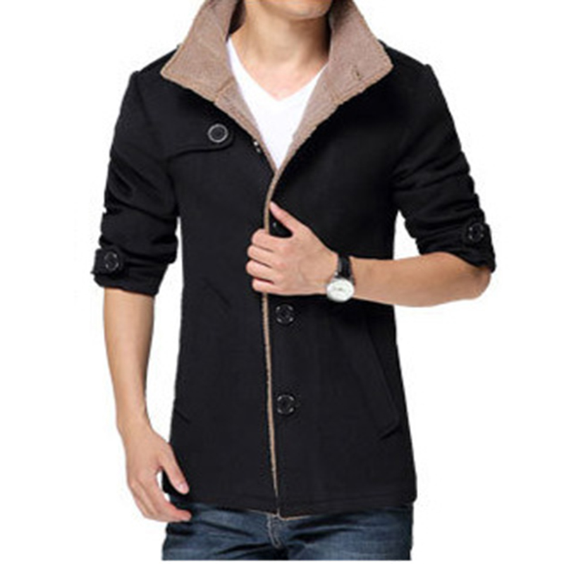 Fashion Brand Men Winter Jacket Single Breasted Overcoat Stand Collar Slim Fit Mens Coat Casual Men Long Wool Blends Coat(China (Mainland))