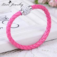 bracelets femme 9 color charm Rhinestone ball Leather bracelets & bangles Woven for women bracciali donna jewelry gift bijoux