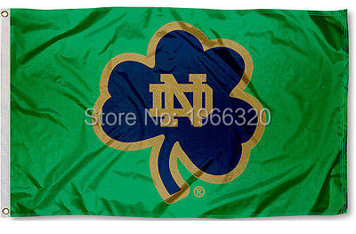 College Notre Dame ND Shamrock Large Outdoor NCAA 3ft x 5ft 144* 96cm Custom flag(China (Mainland))