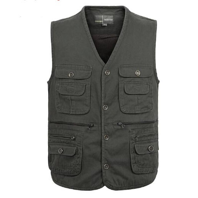 Plus Size XL-4XL Outdoor Sleeveless Jacket Multi-Pocket V-Neck Waistcoat Cotton Chaleco Hombre Colete Masculino Men Fishing Vest(China (Mainland))