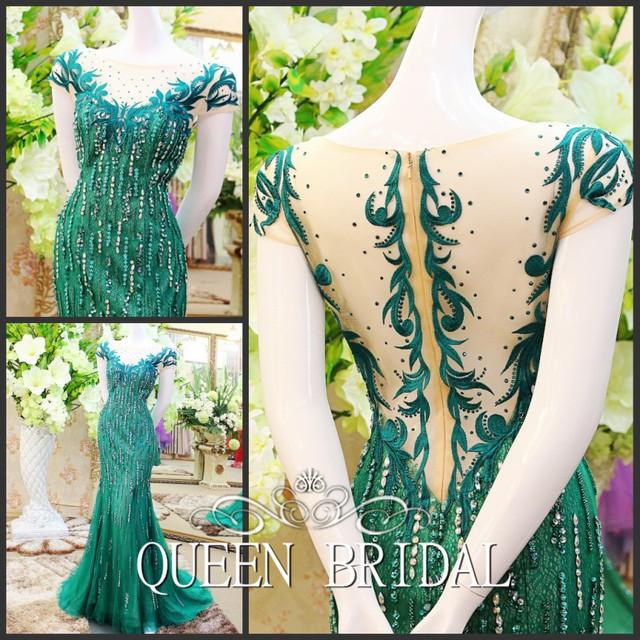 Реальный образец длинная зеленый платье длинная вечернее dressCustom сделано русалка ...