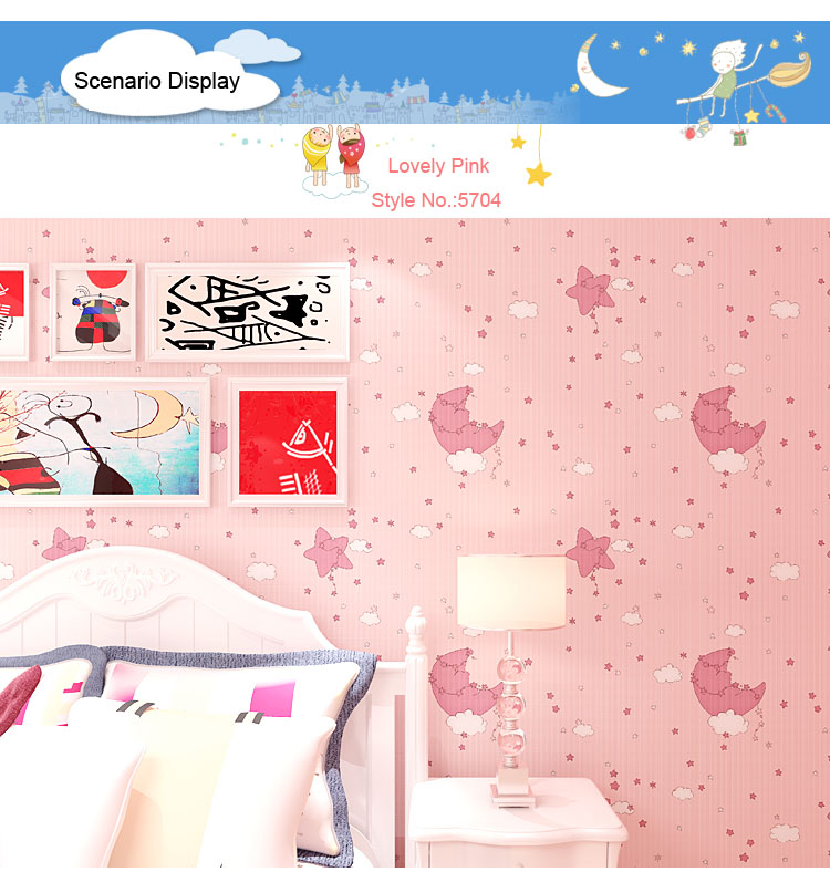 Modern Cartoon Starry Night Moon And Stars Children Wallpaper Room