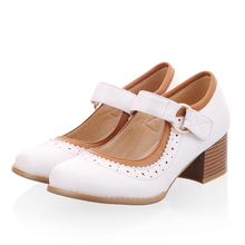 South Korea sweet style round toe pump comfortable fashion belt buckle color matching red white brown med heels women's shoes