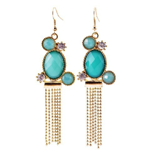 2014 Hot Fashion womens blue Beautiful Charm Gem Dangle Earrings Factory Wholesale