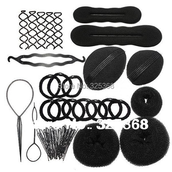 Lady Styling Base Accessory Maker Pads Hairpins Clip Insert Tool Hair Bun Donut Set