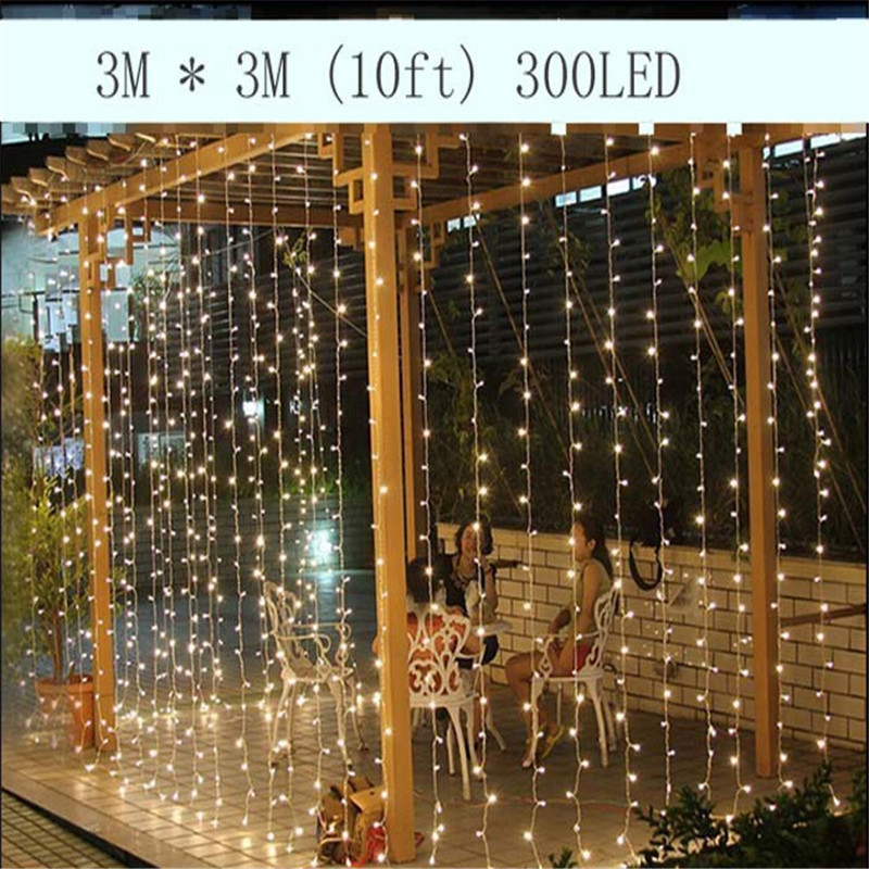 3M x 3M 300 LED Outdoor Home Warm White Christmas Decorative xmas String Fairy Curtain Garlands Strip Party Lights For Wedding(China (Mainland))