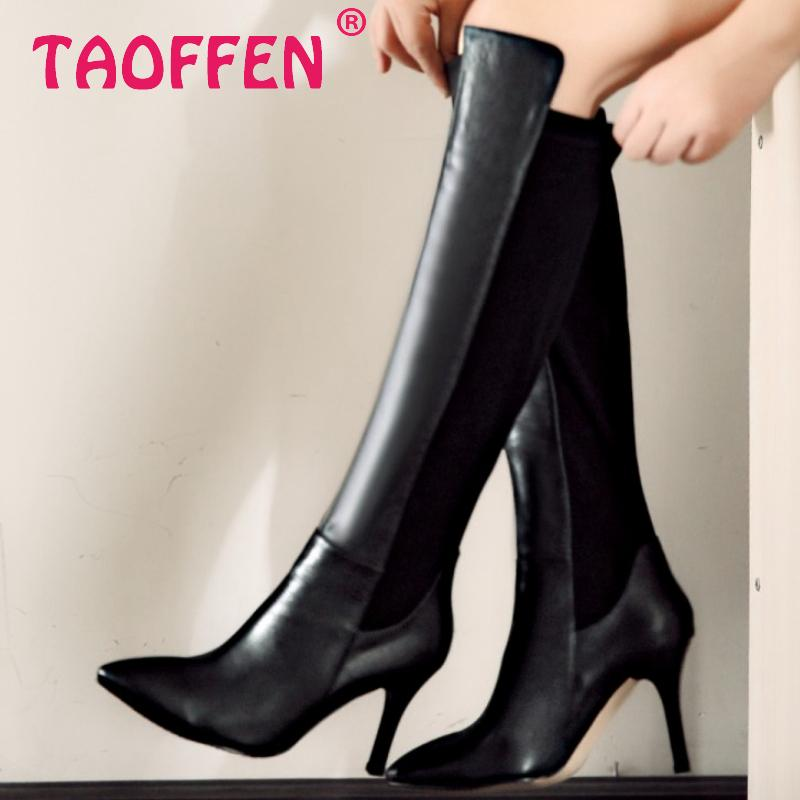 size 33-42 women real genuine leather high heel over knee boots sexy long boot winter warm botas militares footwear shoes R7707<br>