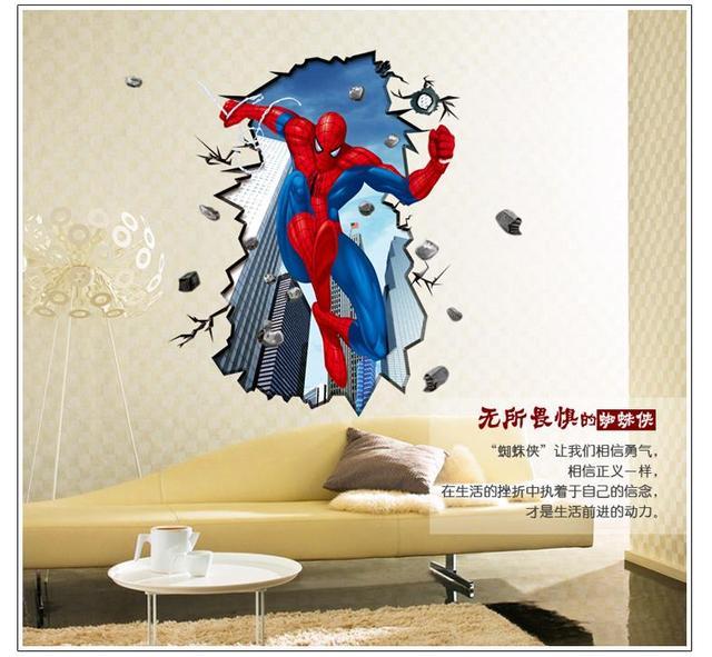 3d-паук стены стикеры для детей номеров росписи плакат мальчика декор мода съемный стены наклейки спальня таблички