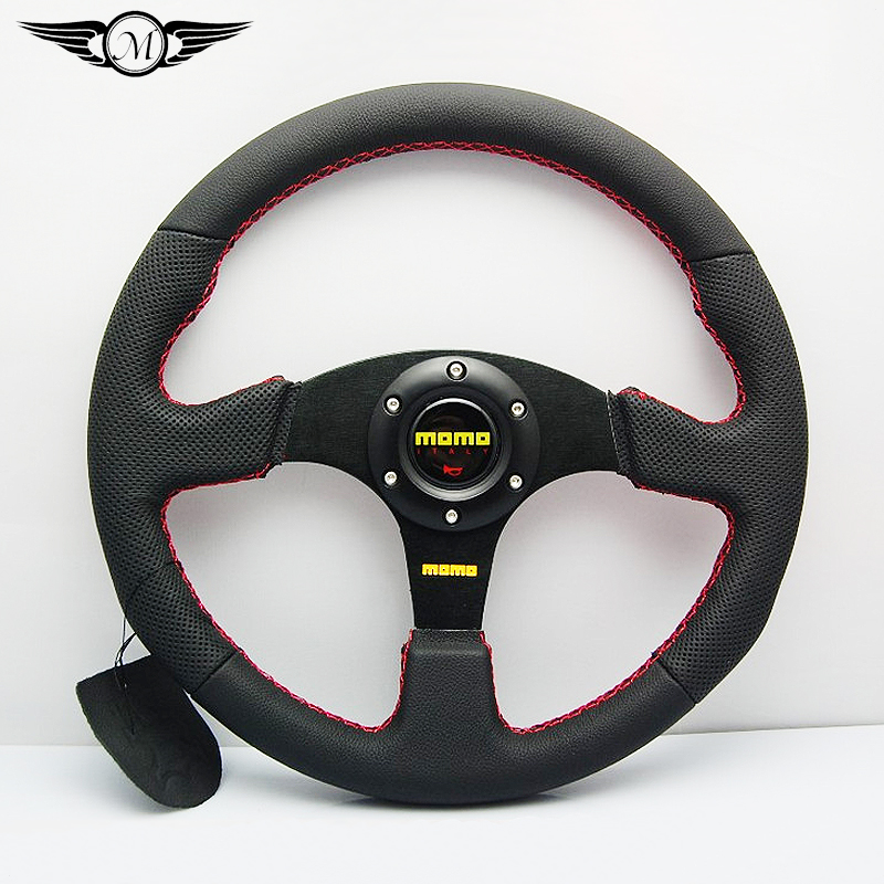 New arrival Universal 350mm 14 Inch Car Auto Momo Modified Genuine Leather Automobile Race Steering Wheel with Horn Button(China (Mainland))