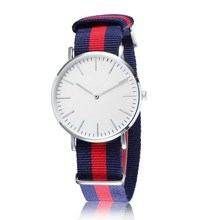 Popular Women Men Sports Watches Fabric Stripe Strap Casual Simple Design 40mm Brand Military Wristwatch Relogio