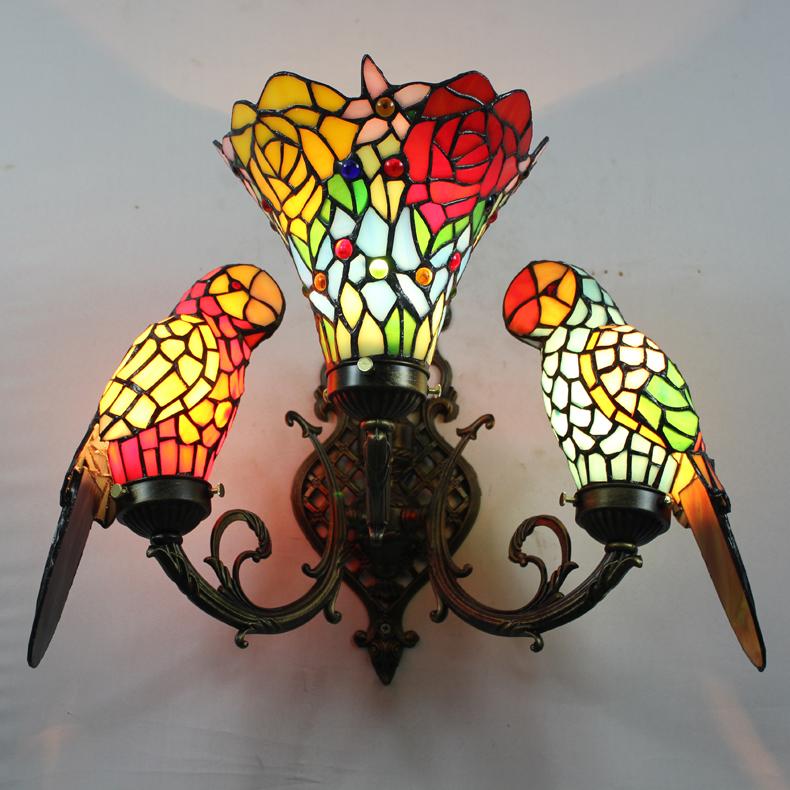 Baroque Art Color Glass Parrot Wall Lamp Bedroom Bedside Vintage Wall Lamp Tiffany Lamp Parrots Dia35cm<br><br>Aliexpress