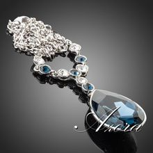 AZORA Platinum Plated Big Irregular Shape Ink Blue Stellux Austrian Crystal Pendant Jewelry Necklace TN0064