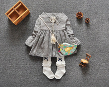 new 2016 spring autumn long sleeve print toddler girls dress cute tassel bow baby party dress for infants girl clothes newborn(China (Mainland))