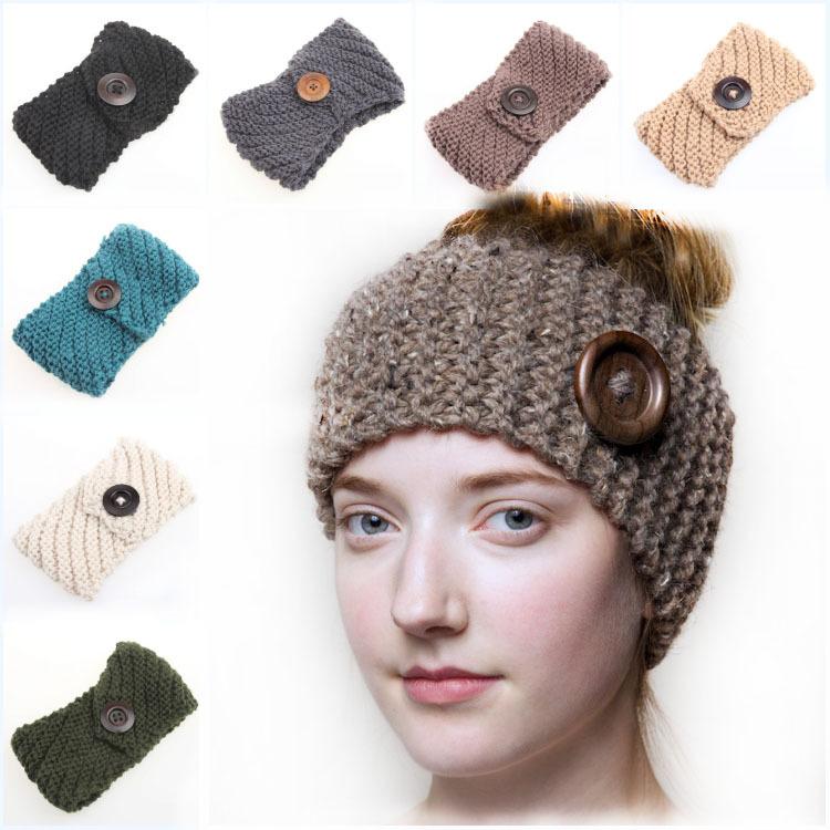 Amazing Fashion Women 1pc Hip Hop Heandband Wooden Button New Crochet Twist Knitted Headband Winter Warmer Hair Accessories Hb15(China (Mainland))