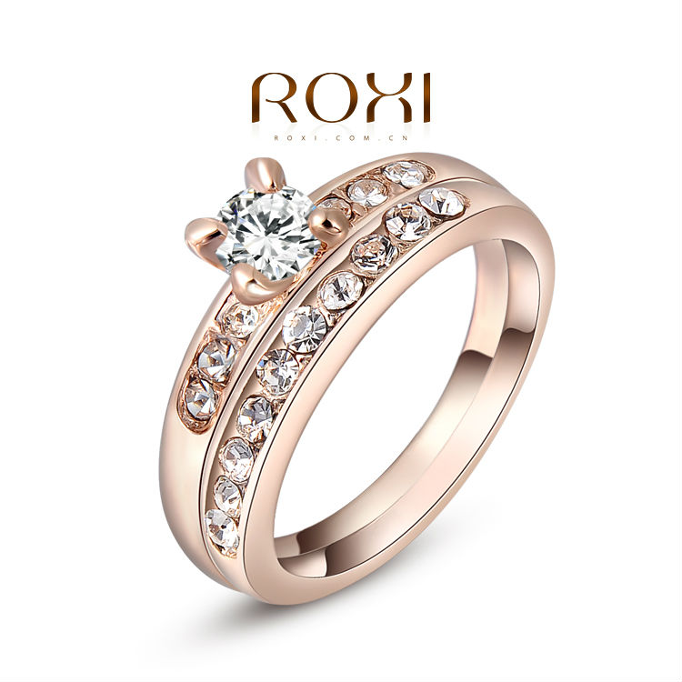 ROXI Chirstmas Gift Austria Crystal Ring/jewelry rings for women/double ring/Lovers ring With Austrian Crysta 2010218290(China (Mainland))