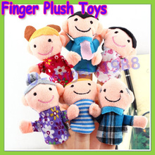 Free shipping +6pcs Finger Plush Puppet Happy Family Story Telling Dolls Support Children Baby Educational Toys Wholesale(China (Mainland))