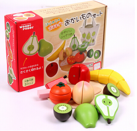 Baby Toys Mother Garden Kitchen Food Toys Magnetic Fruit Fish Food Toys Children Lovely Wooden Toys(China (Mainland))