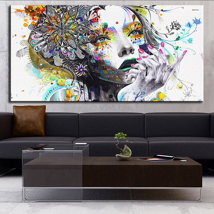 Unframed Modern Wall Graffiti Art Girl with Flowers Oil Painting Prints on Canvas Pictures Decor For Living Room(China (Mainland))