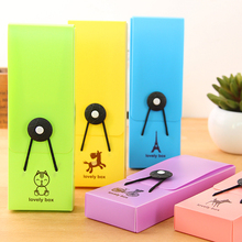 New Cute Kawaii Plastic Pencil Case Lovely Colored Pen box for Kids School Supplies Korean Stationery Free shipping 121