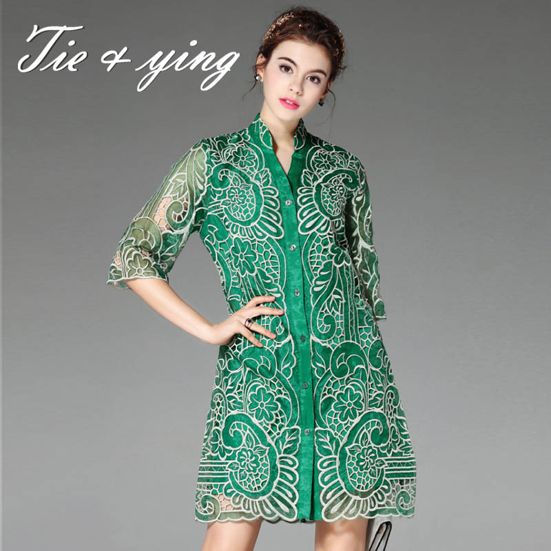 High-end royal embroidery organza blouse shirt dress 2016 summer European fashion runway hollow out plus size lady shirt S-3XL(China (Mainland))
