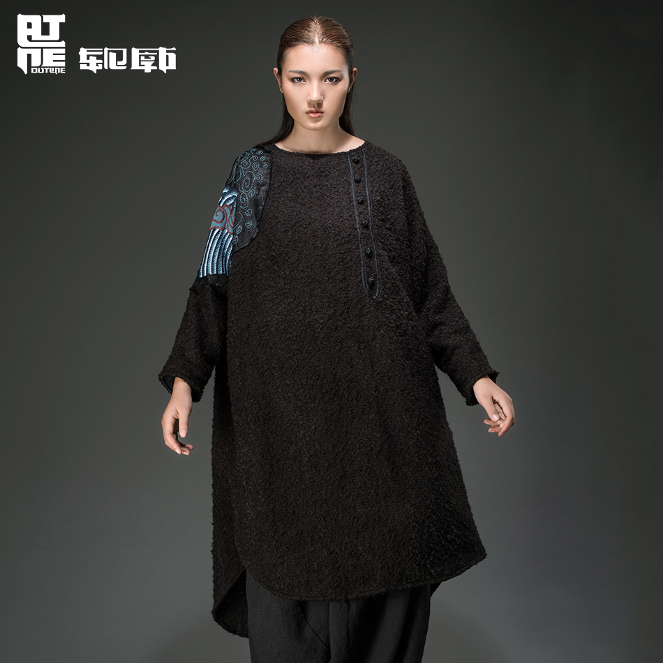 Outline 2015 Autumn Original Brand Woman Dresses High Quality Loose Appliques Asymmetric Dress Embroidered Dress L144Y005(China (Mainland))