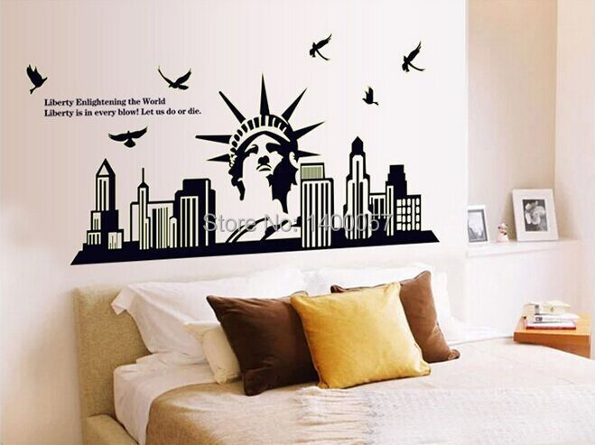 ABQ9622 three generation plane wall European architectural style of the statue of liberty world landscape luminous stickers(China (Mainland))