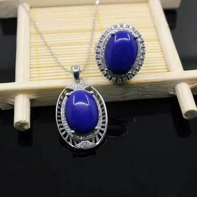 925 sterling silver fashion Luxurious big natural lapis lazuli rings pendant earrings women natural gem stone party jewelry set<br><br>Aliexpress