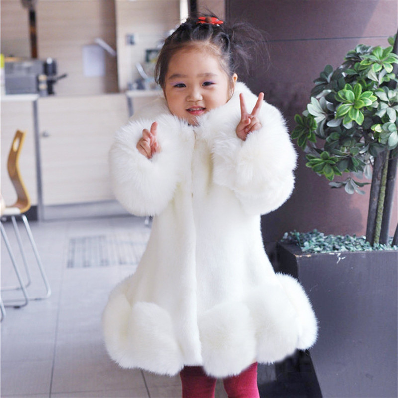 New 2017 Baby Girls Long Sleeve Winter Wedding Faux Fur Brand Fur Coat for Girls Formal Soft Party Coat Kids Wedding Outwear(China (Mainland))
