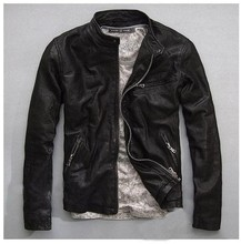Genuine Leather Jacket Men Real Sheep Skin Leather Man's Motorcycle Biker Coat Fashion Casual Brand Designer Spring Autumn(China (Mainland))