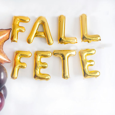 """High quality 8pcs/bag 16inch Silver/Gold """"Fall Fete"""" foil Balloons OKTOBERFEST THANKSGIVING party supplies meet together decor(China (Mainland))"""