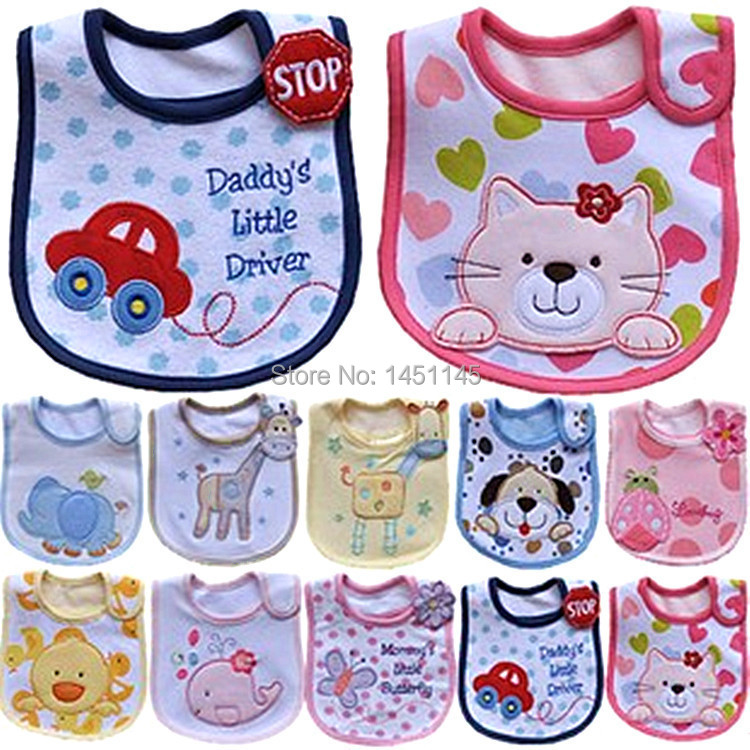 Hot Sale 20 designs Carter Baby Bib For Cute Baby Girls Boys Car Cat Character Waterproof Saliva Towel Cotton Babador skip zoo(China (Mainland))