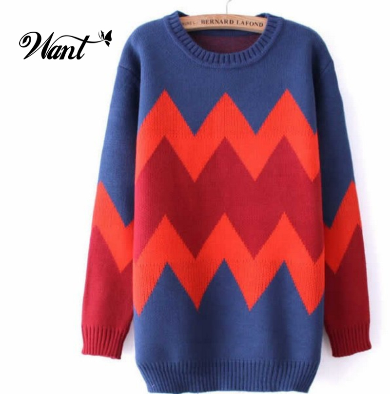 Want Striped Cute Women Pullover Winter Christmas Sweaters 2015 Women Fall Oversized Knitted Sweater And Pullovers Knitwear MY8(China (Mainland))