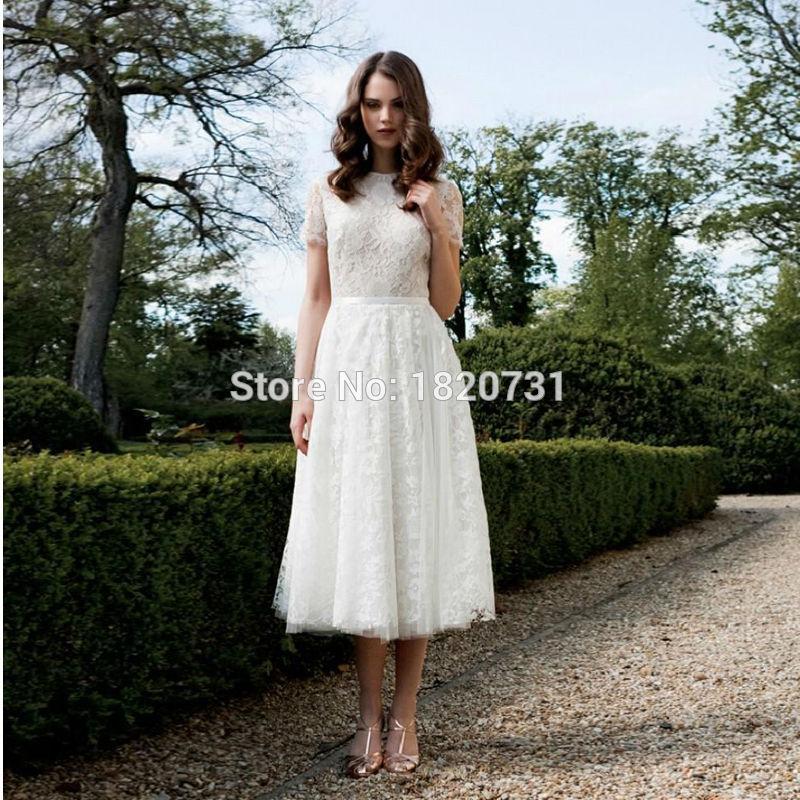 Short Wedding Dress 2017 line Short Sleeve Tea Length Lace Bridal Dresses vestido de noiva de renda 2017 robe de mariage