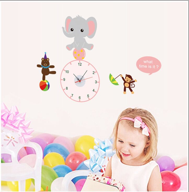 Animal Party Monkey Elephant Bear Clock Wall Stickers For Kids Room Decor Waterproof Home Decoration Cute Sticker