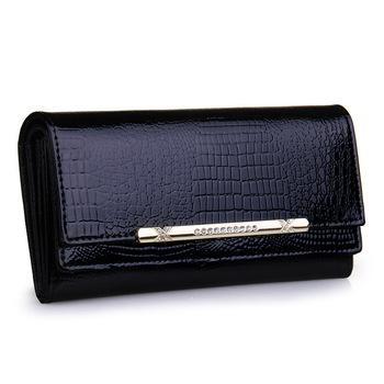 Роскошь крокодиловая кожа женщины кошельки натуральная кожа дизайнерский бренд бумажник ...